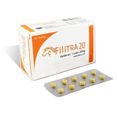 Foto - empaque y placa de tabletas Filitra (Vardenafil)