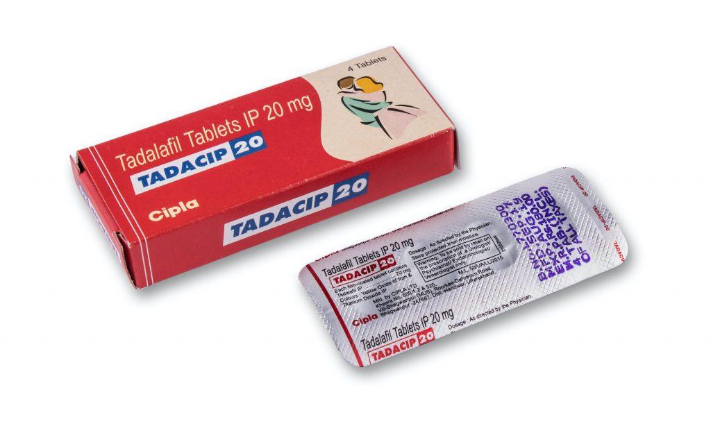 En la foto - empaque y placa de Tadacip 20 tabletas (Tadalafil)